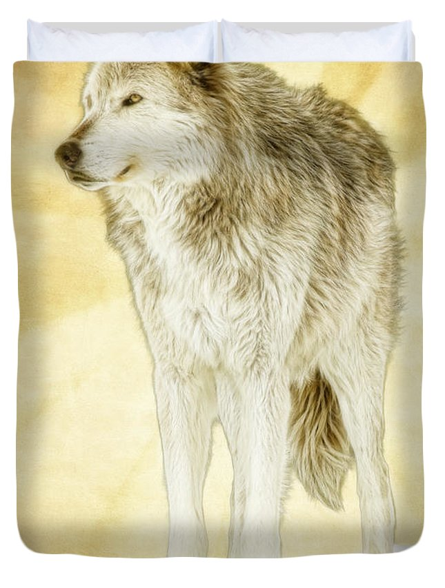 Wolf Duvet Cover featuring the photograph Wolf Shine by Steve McKinzie