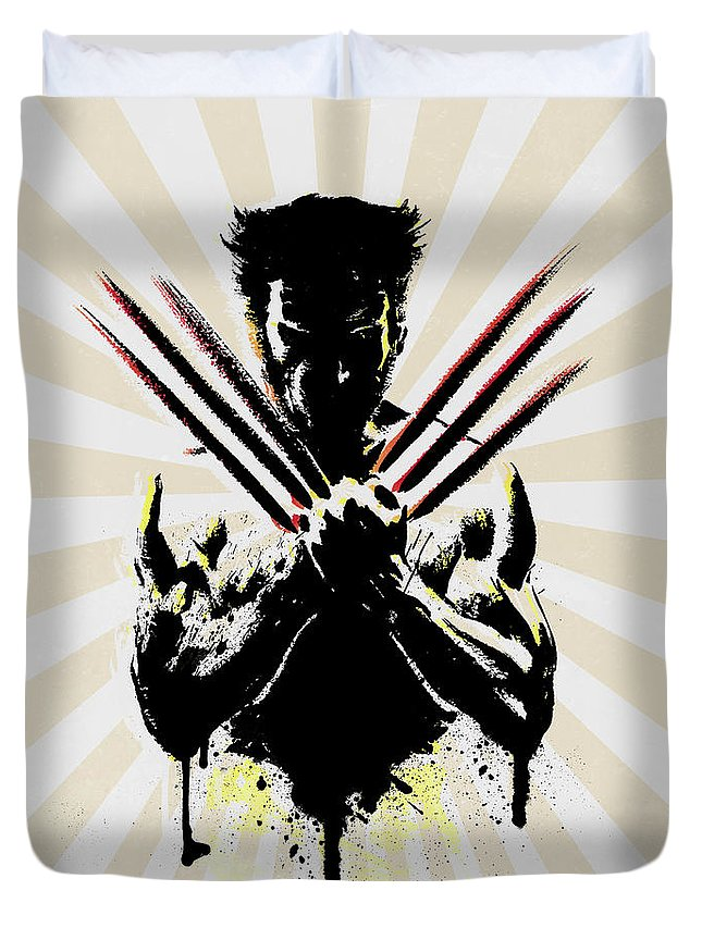 Wolverine Duvet Cover featuring the digital art Wolverine by Mark Ashkenazi