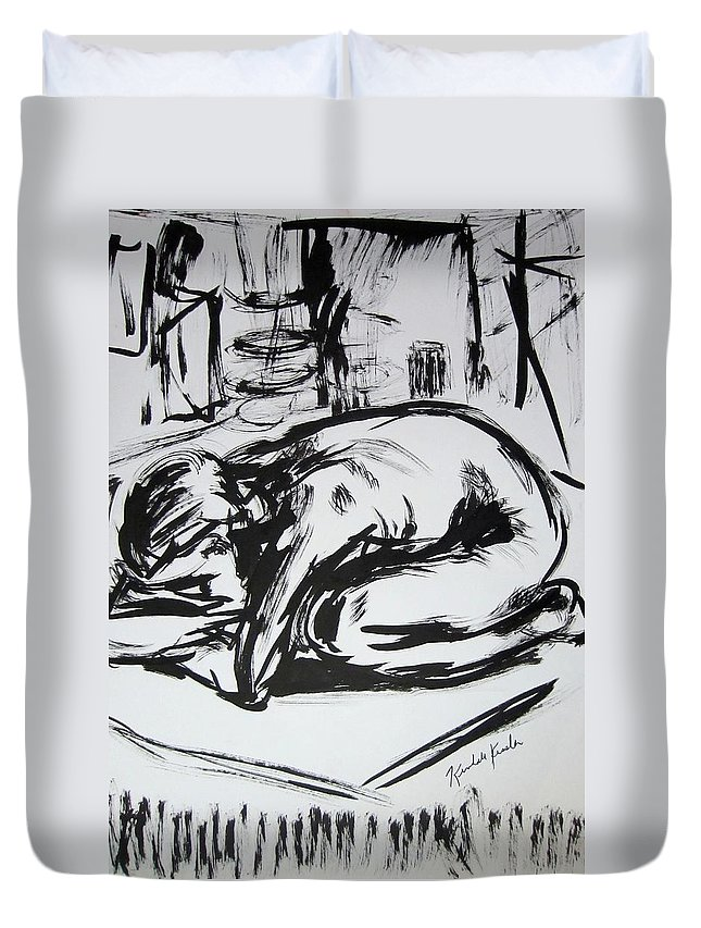 Ink Duvet Cover featuring the drawing Woman Alone with Shadows by Kendall Kessler