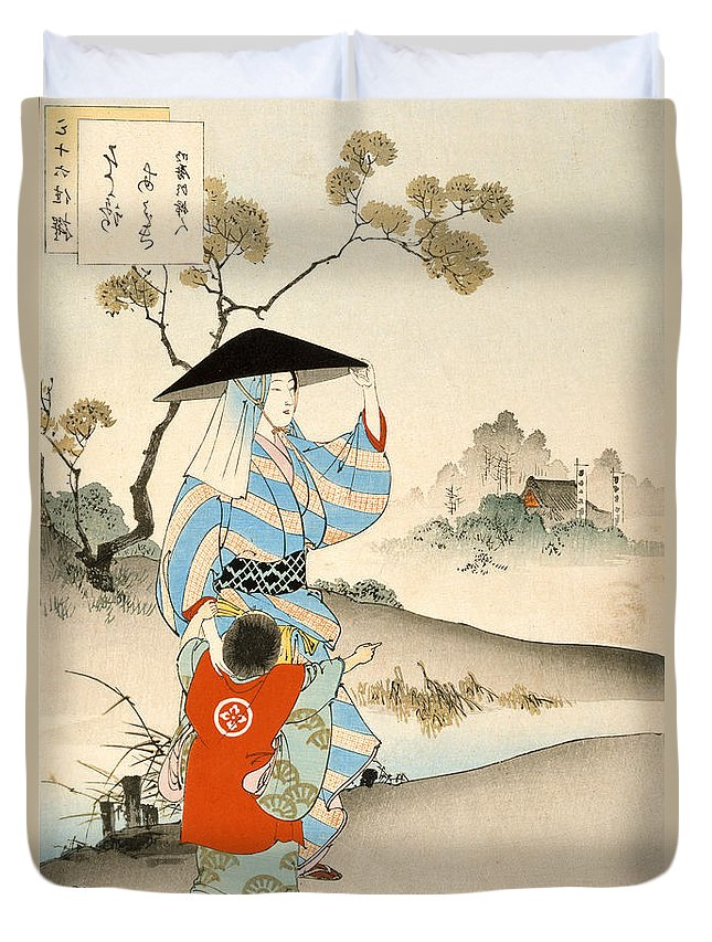 Japanese Duvet Cover featuring the painting Woman And Child by Ogata Gekko