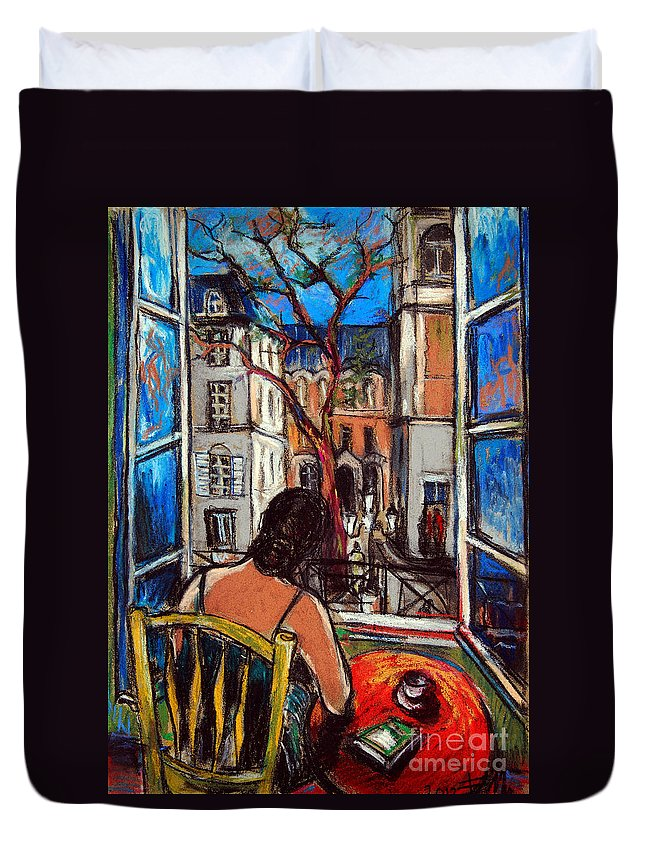 Woman At The Window Duvet Cover featuring the painting Woman At Window by Mona Edulesco