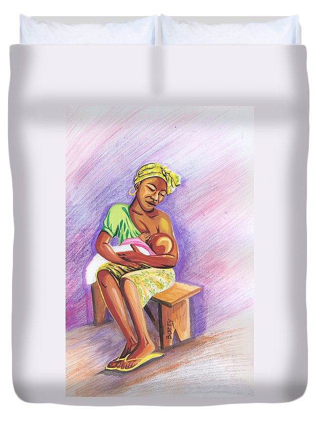 Portraits Duvet Cover featuring the painting Woman Breastfeeding Bay In Rwanda by Emmanuel Baliyanga