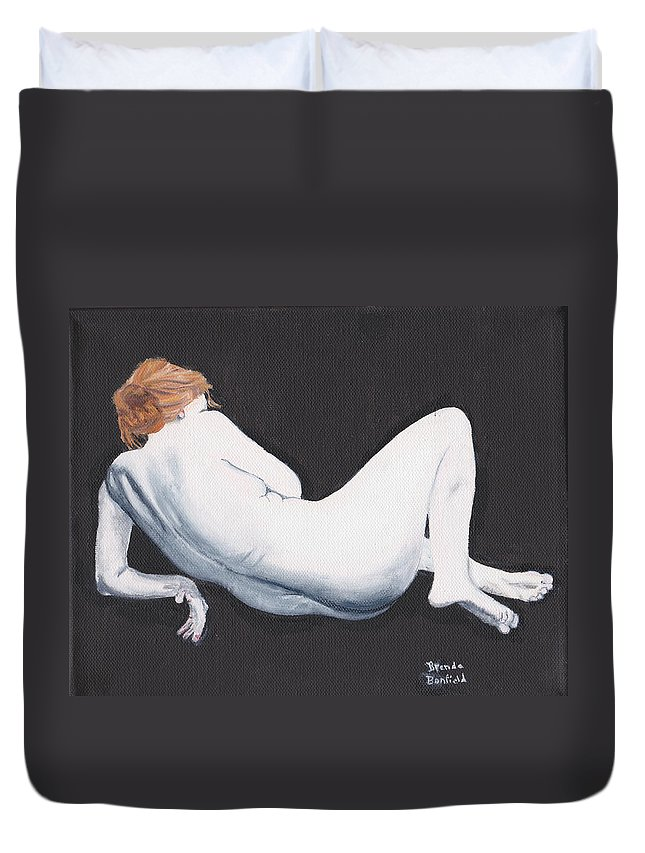 Nature Duvet Cover featuring the painting Woman by Brenda Bonfield