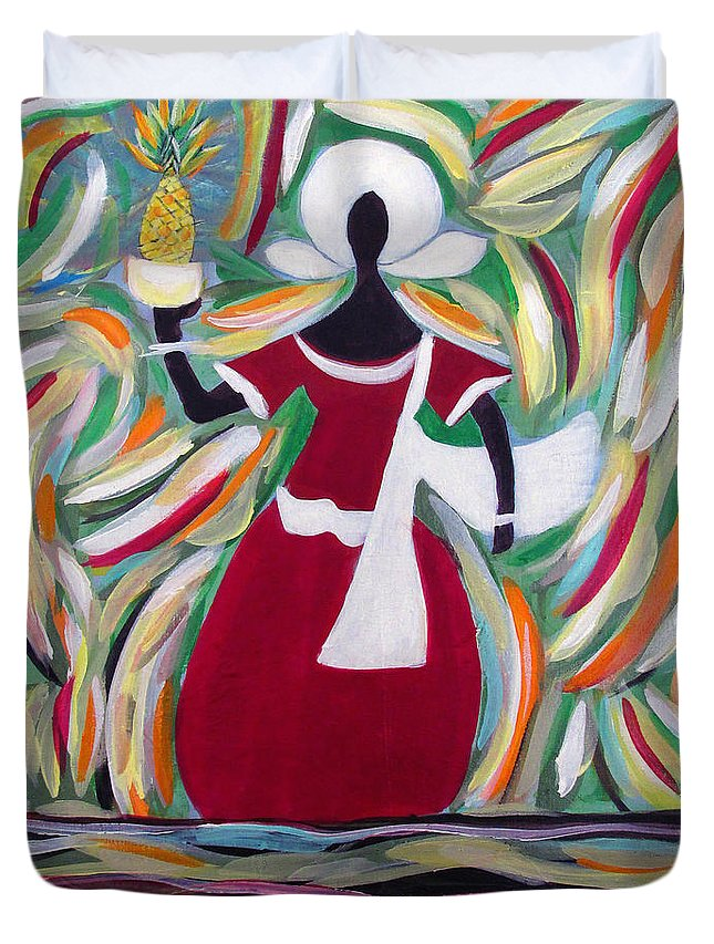 Acrylic Painting Duvet Cover featuring the painting Woman Carrying Pineapple by Fatima Neumann