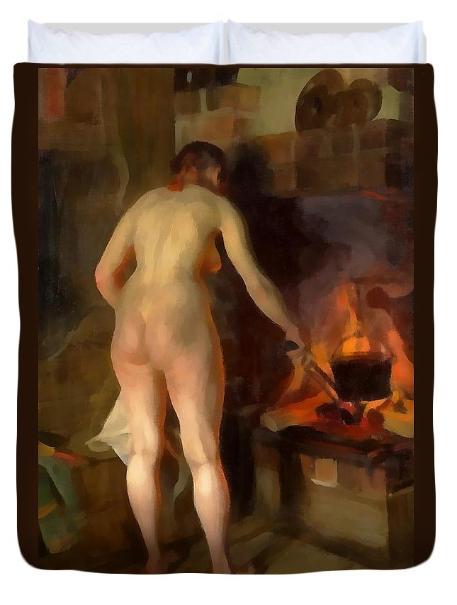 Anders Zorn Duvet Cover featuring the digital art Woman Cooking Over An Open Fire by Anders Zorn