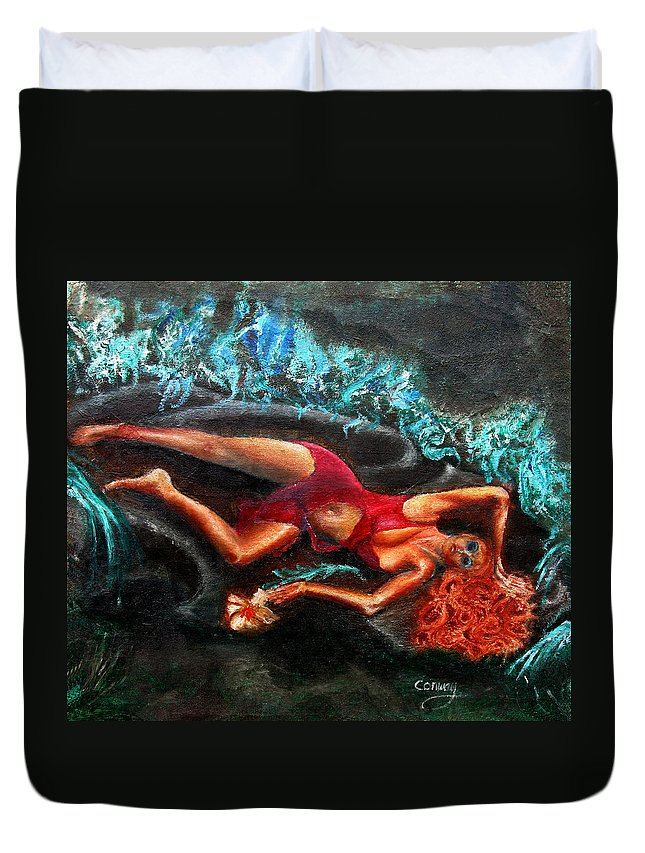 Females Duvet Cover featuring the painting Woman In A Red Dress Holding A Flower by Tom Conway