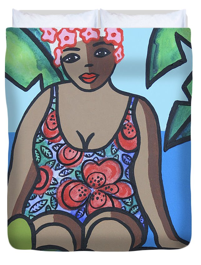 Woman Duvet Cover featuring the painting Woman In Bathing Suit 4 by Trudie Canwood