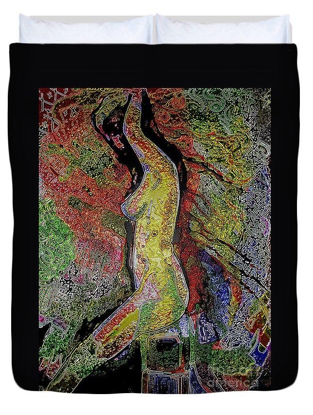 Digital Art Duvet Cover featuring the digital art Woman In Glow by Elaine Berger