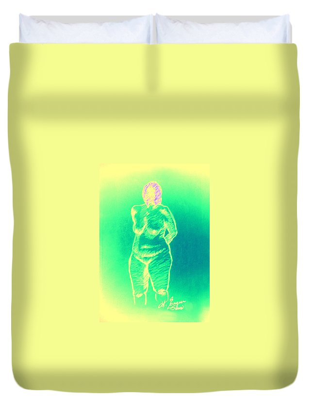 Genio Duvet Cover featuring the mixed media Woman In Green by Genio GgXpress