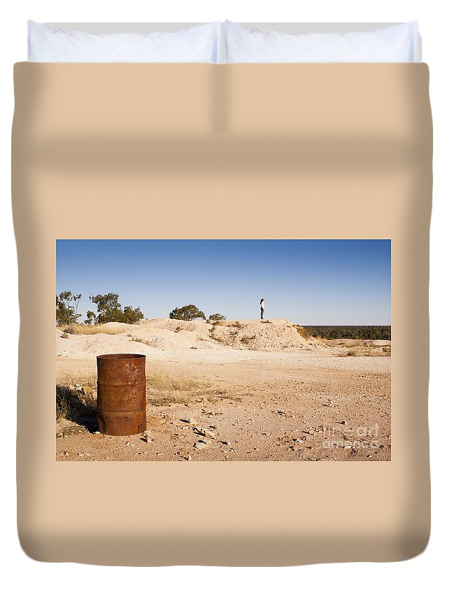 Lightning Ridge Duvet Cover featuring the photograph Woman In Landscape by Tim Hester