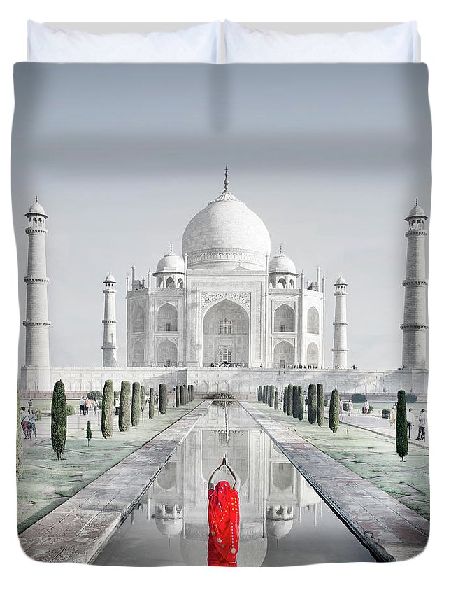 Tranquility Duvet Cover featuring the photograph Woman In Red Sari Praying At Taj Mahal by Grant Faint