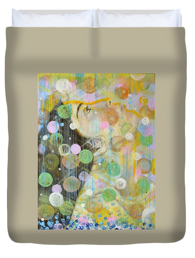 Woman In Prayer Duvet Cover featuring the painting Woman In Worship by Anne Cameron Cutri