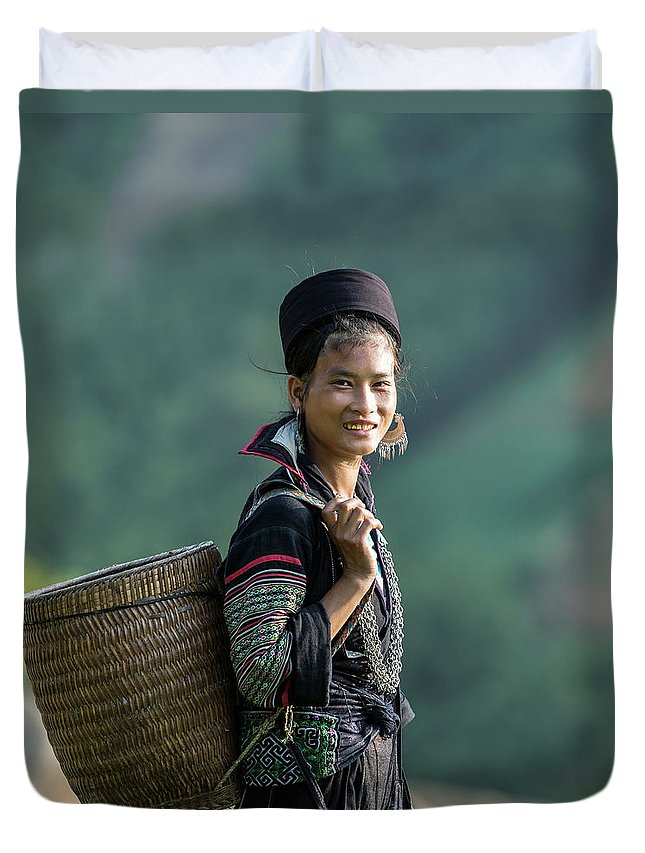 Farm Worker Duvet Cover featuring the photograph Woman Of Black Hmong Hill Tribe Next To by Martin Puddy