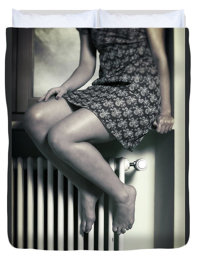 Girl Duvet Cover featuring the photograph Woman On Window Sill by Joana Kruse