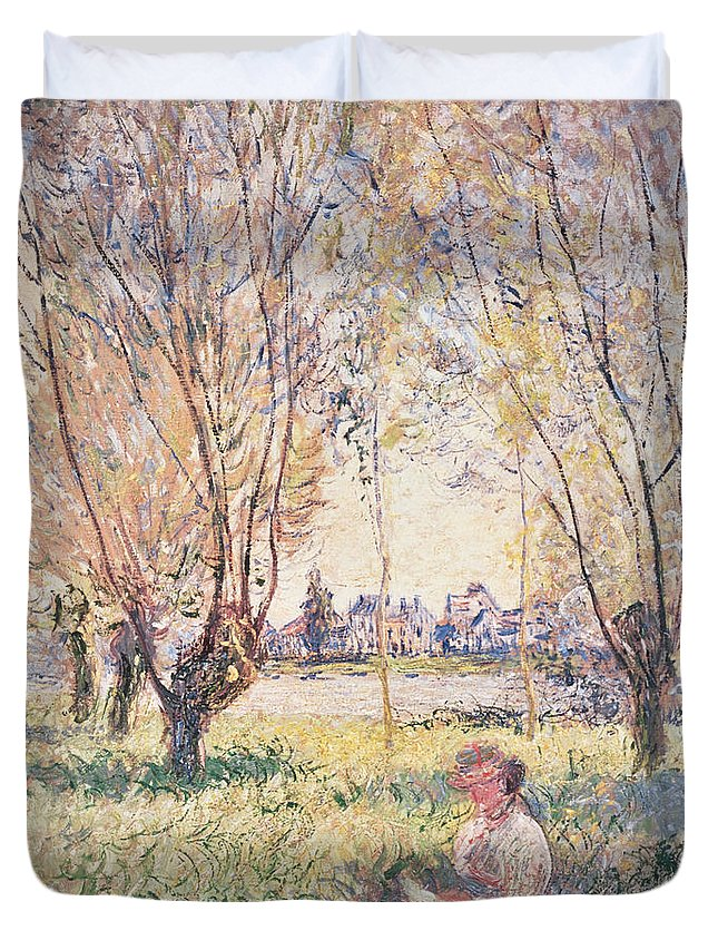 Claude Monet Duvet Cover featuring the painting Woman Seated Under The Willows by Claude Monet