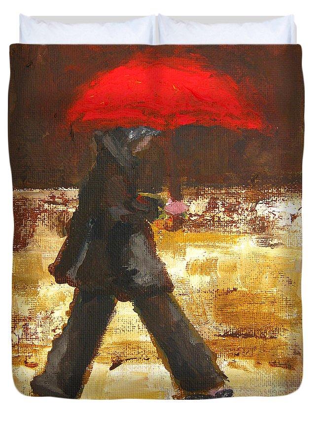 Woman Under A Red Umbrella Duvet Cover featuring the painting Woman Under A Red Umbrella by Patricia Awapara