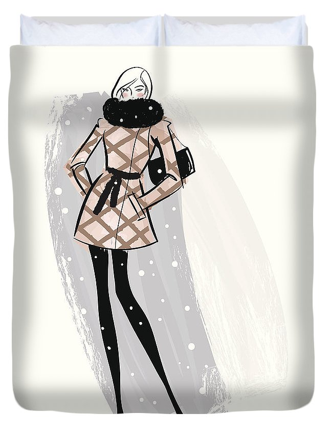 People Duvet Cover featuring the digital art Woman Wearing Jacket In Snow by Mcmillan Digital Art
