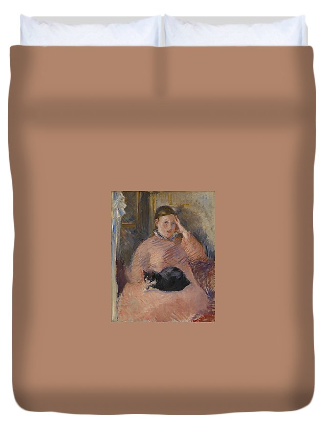 1880 Duvet Cover featuring the painting Woman With A Cat by Edouard Manet