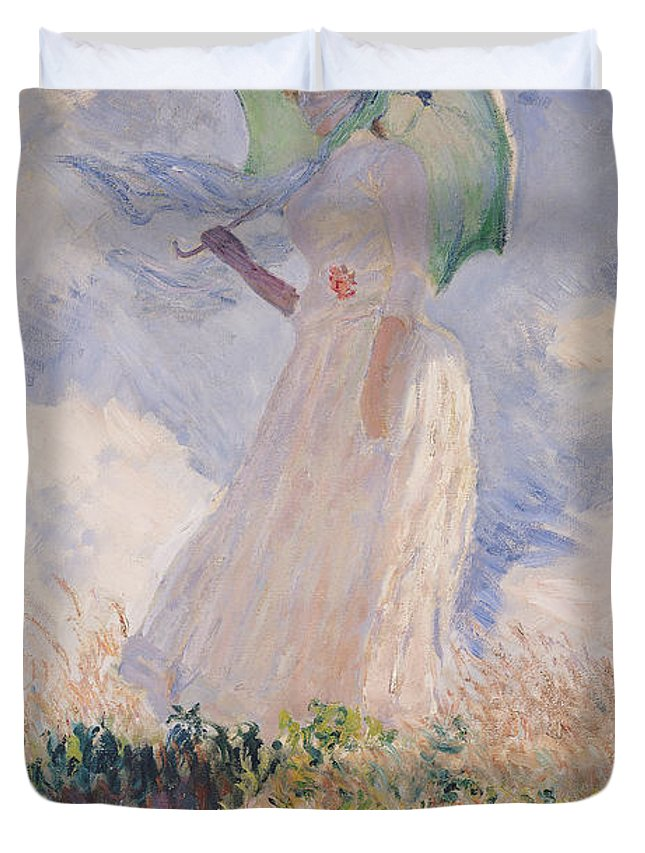 Woman With Parasol Turned To The Left Duvet Cover featuring the painting Woman With Parasol Turned To The Left by Claude Monet