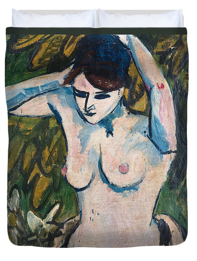 Woman With Raised Arms Duvet Cover featuring the painting Woman With Raised Arms by Ernst Ludwig Kirchner