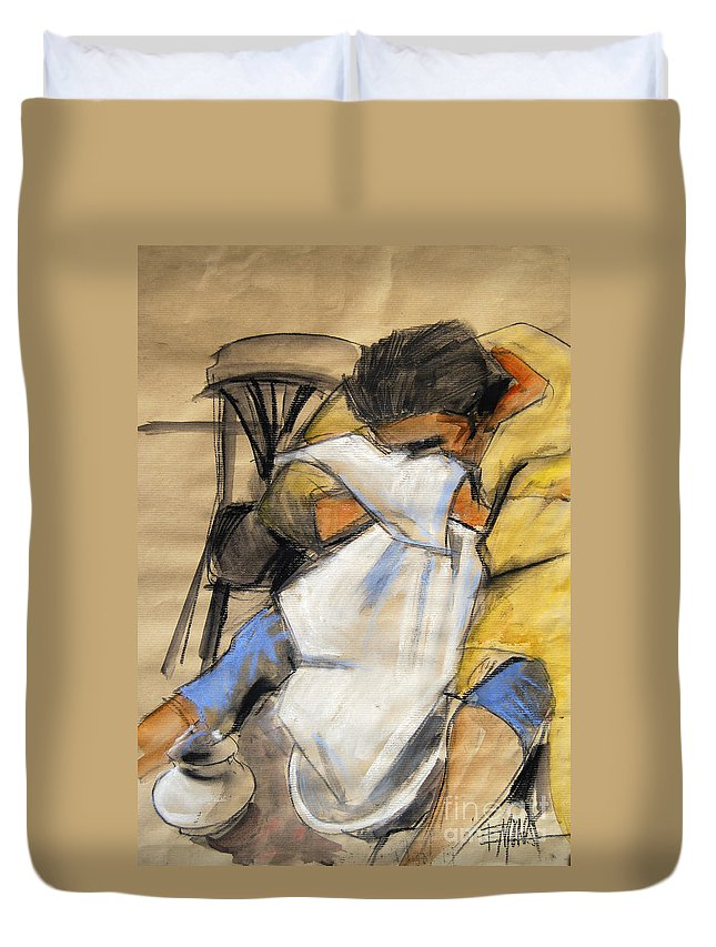 Live Model Study Duvet Cover featuring the painting Woman With White Towel - Helene #9 - Figure Series by Mona Edulesco