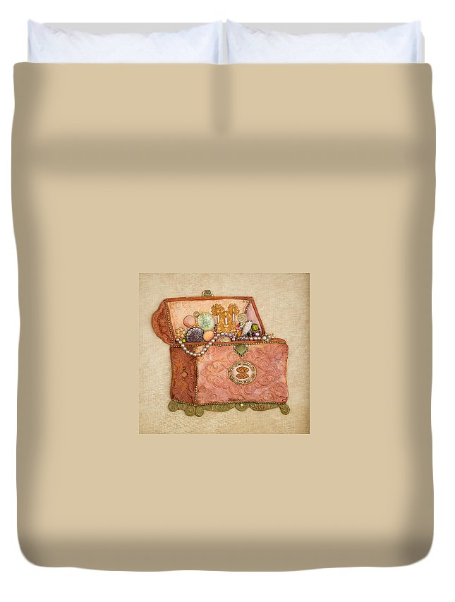 Product Duvet Cover featuring the painting Womans Treasures by Michoel Muchnik