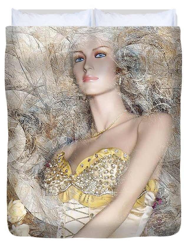 Women Duvet Cover featuring the digital art Women 550-11-13 Marucii by Marek Lutek