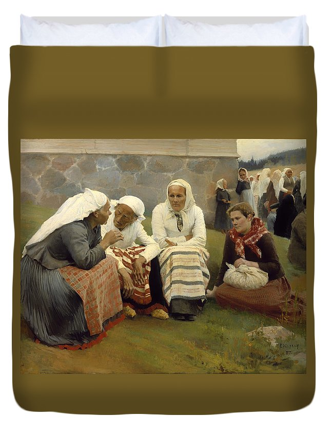 Painting Duvet Cover featuring the painting Women Outside The Church - Finland by Mountain Dreams