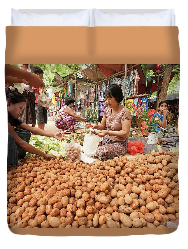 People Duvet Cover featuring the photograph Women Sorting Vegetables At Local by Cultura Rm Exclusive/yellowdog