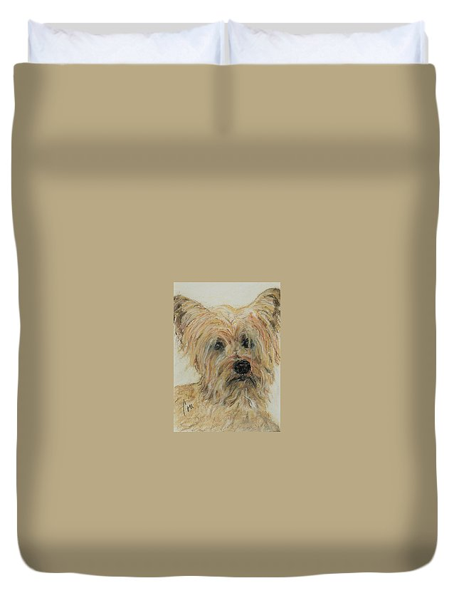 Terrier Duvet Cover featuring the drawing Wonder-ful by Cori Solomon