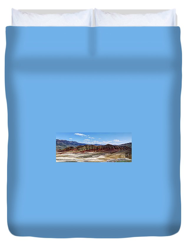 Painted Hills Duvet Cover featuring the photograph Wonder Of Erosion Panorama by Vivian Christopher