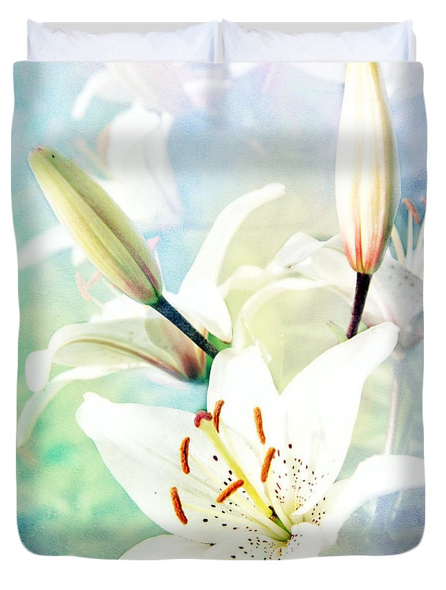 Lily Duvet Cover featuring the photograph Wonderful Lilies by Lali Kacharava
