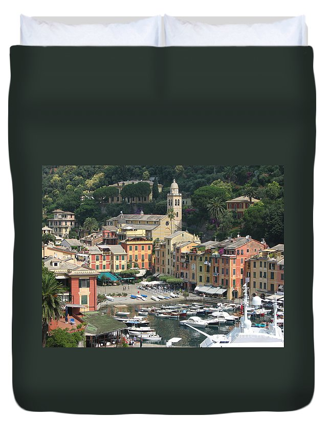 Port Duvet Cover featuring the photograph Wonderful Portofino by Christine Huwer