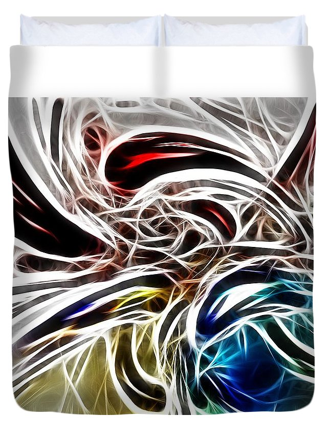 Brain Painting Synapse Think Thinking Fractal Art Color Coloful Expressionism Duvet Cover featuring the digital art Wonderful Thoughts by Steve K