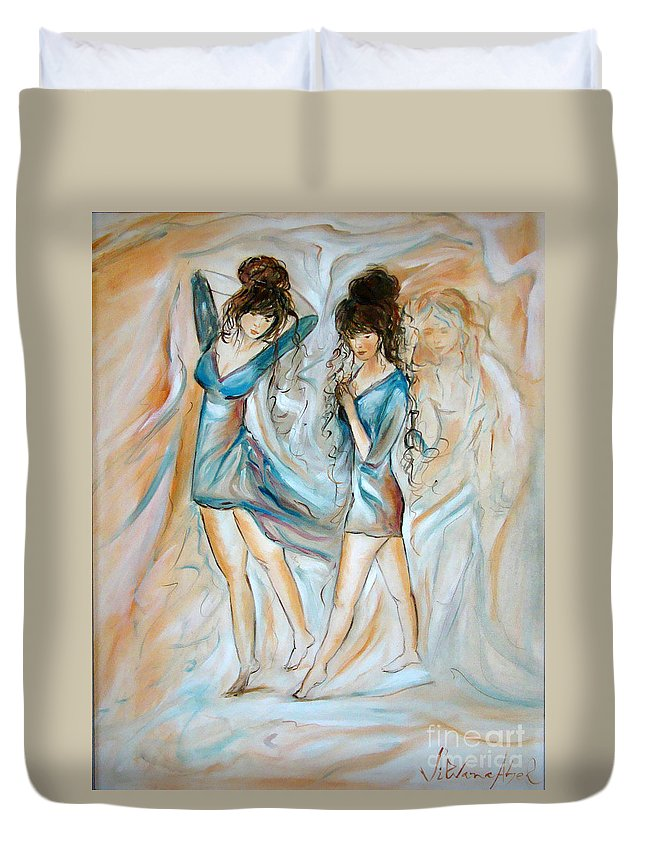 Contemporary Art Duvet Cover featuring the painting Wondering by Silvana Abel