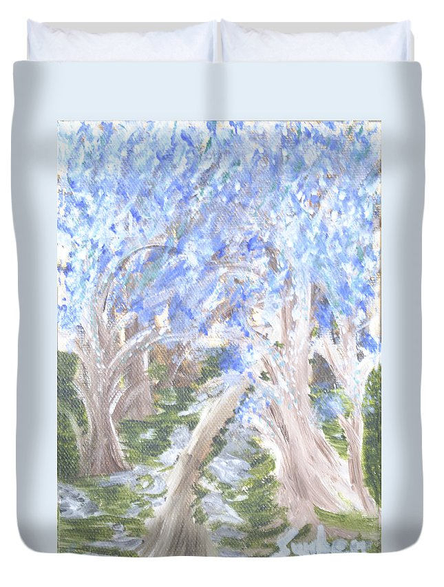 Trees Duvet Cover featuring the painting Wondering Through Trees by Suzanne Surber