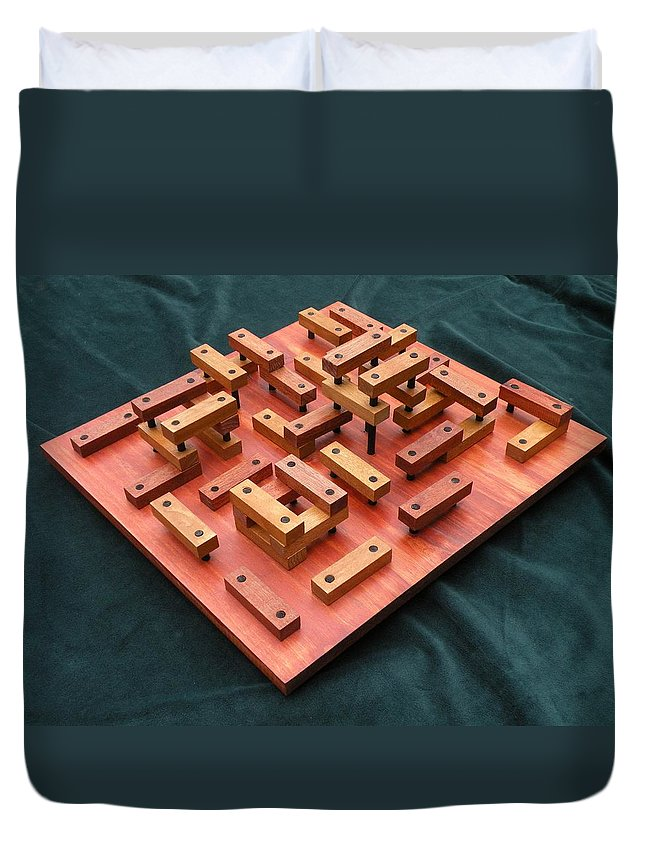 Wood Duvet Cover featuring the sculpture Wood Construction #1 by Dave Martsolf
