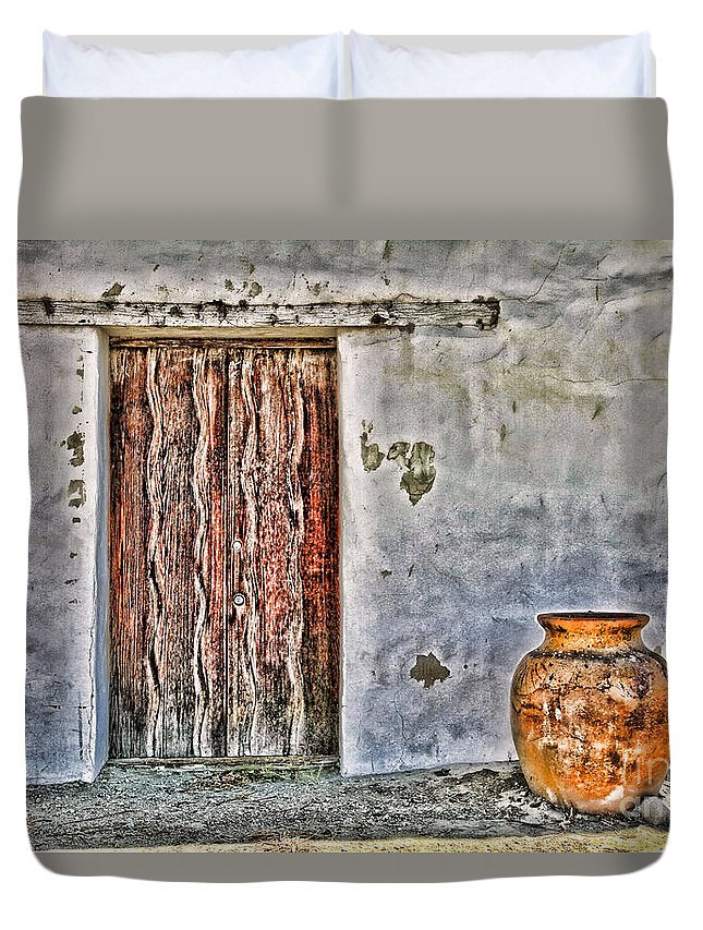 Mission Soledad Duvet Cover featuring the photograph Wood Door And Clay Pot By Diana Sainz by Diana Raquel Sainz