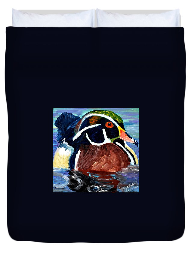 Duck Duvet Cover featuring the painting Wood Duck by Michael Lee