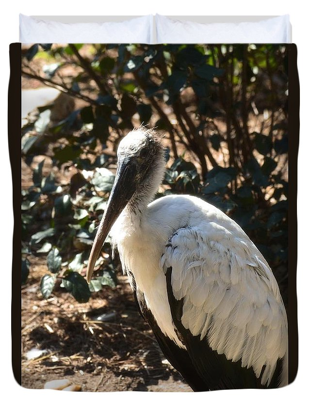 Wood Stork Duvet Cover featuring the photograph Wood Stork by Maria Urso