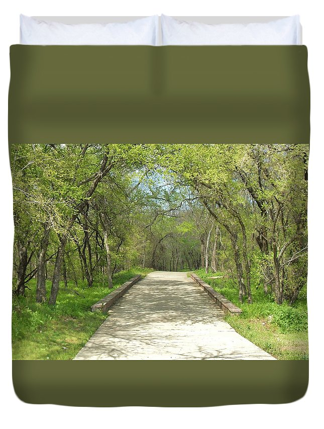 Paths Duvet Cover featuring the photograph Walking In The Park by Donna Wilson