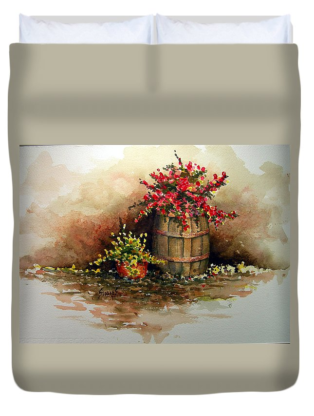 Barrel Duvet Cover featuring the painting Wooden Barrel with Flowers by Sam Sidders