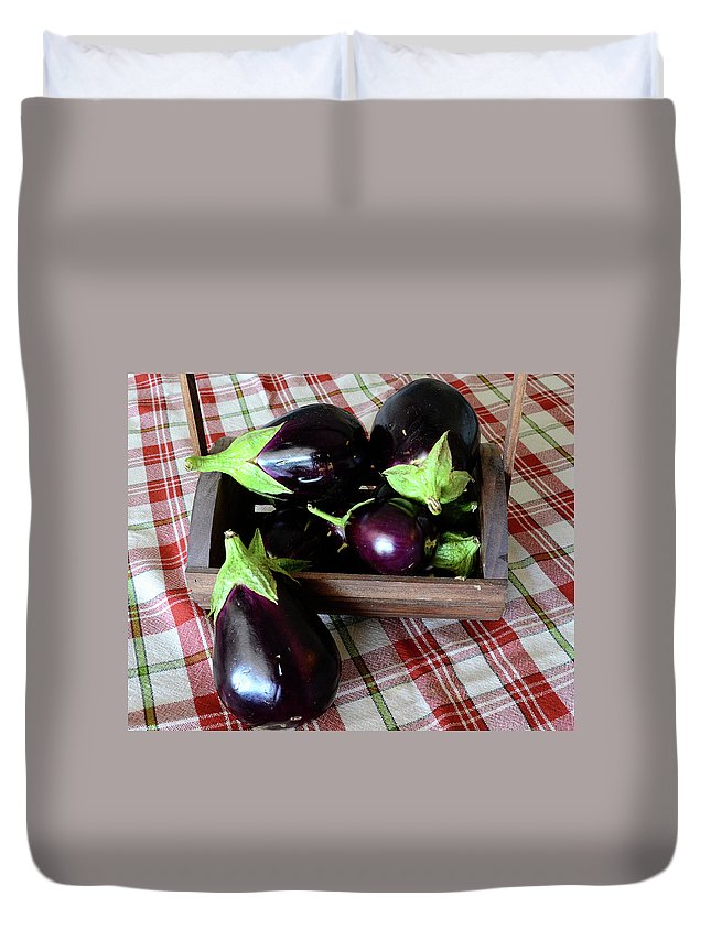 Purple Duvet Cover featuring the photograph Wooden Basket Of Eggplant by Jessica Lynn Culver