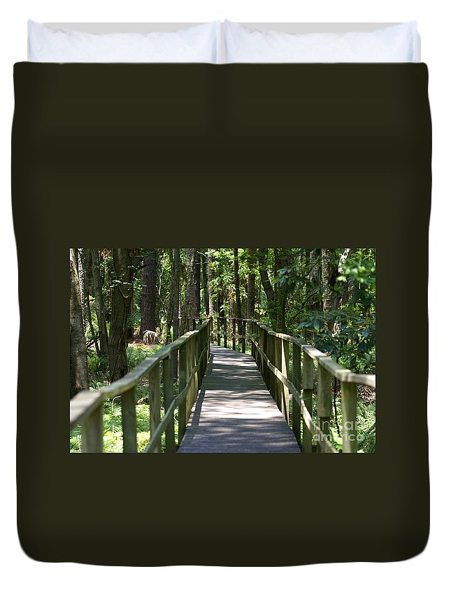 Board Duvet Cover featuring the photograph Wooden Boardwalk Through The Forest by SAJE Photography