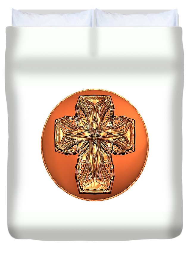 Christian Duvet Cover featuring the digital art Wooden Car Cross by Zac AlleyWalker Lowing