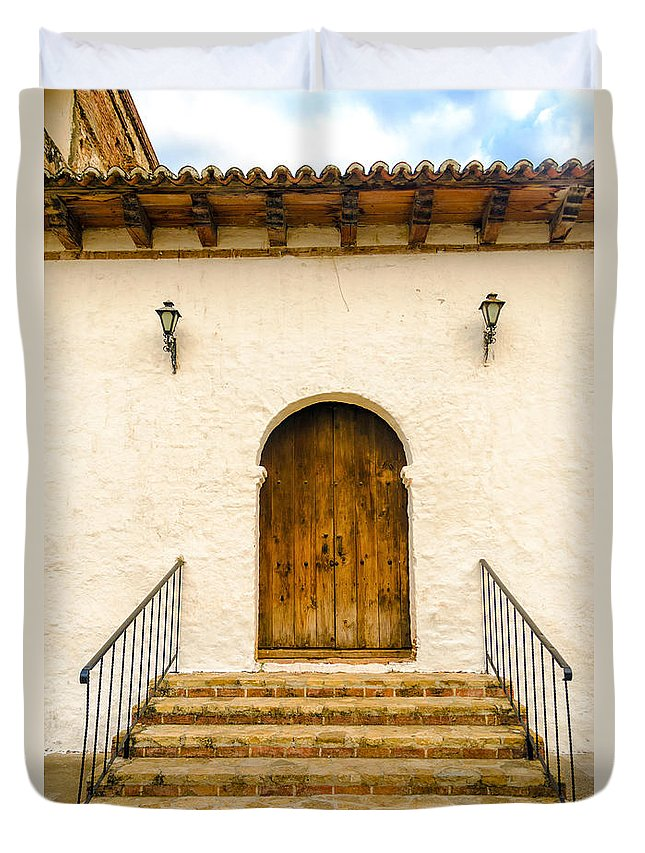 Mexico Duvet Cover featuring the photograph Wooden Colonial Style Door by Jess Kraft