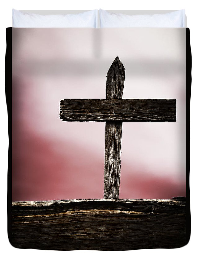 Cemetery; Grave; Cross; Memorial; Death; Dead; Old; Grunge; Wood; Wooden; Hand Made; Sky; Clouds; Red; Religious; Christian Duvet Cover featuring the photograph Wooden Cross by Margie Hurwich
