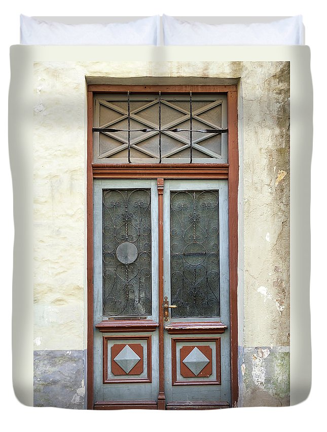 Rectangle Duvet Cover featuring the photograph Wooden Door With Glass And Decoration by Eugenesergeev