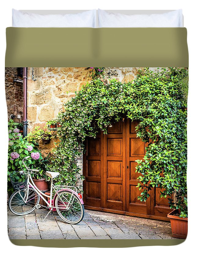 Val D'orcia Duvet Cover featuring the photograph Wooden Gate With Plants In An Ancient by Giorgiomagini