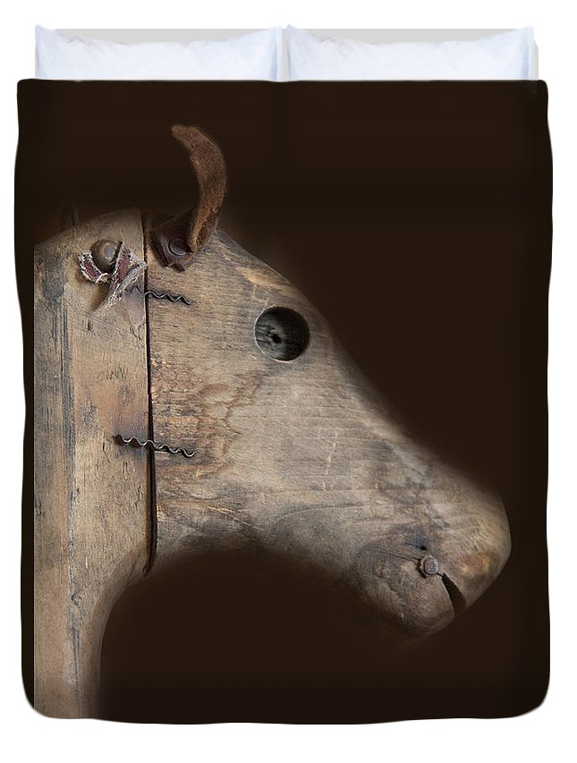 Rocking Horse; Toy; Wood; Vintage; Old; Child; Dark; Darkness; Alone; Lost; Abandoned; Wooden; Shadows; Shroud; Antique; Face Duvet Cover featuring the photograph Wooden Horse by Margie Hurwich